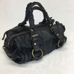 VINTAGE BETSEY JOHNSON BLACK LEATHER SATCHEL